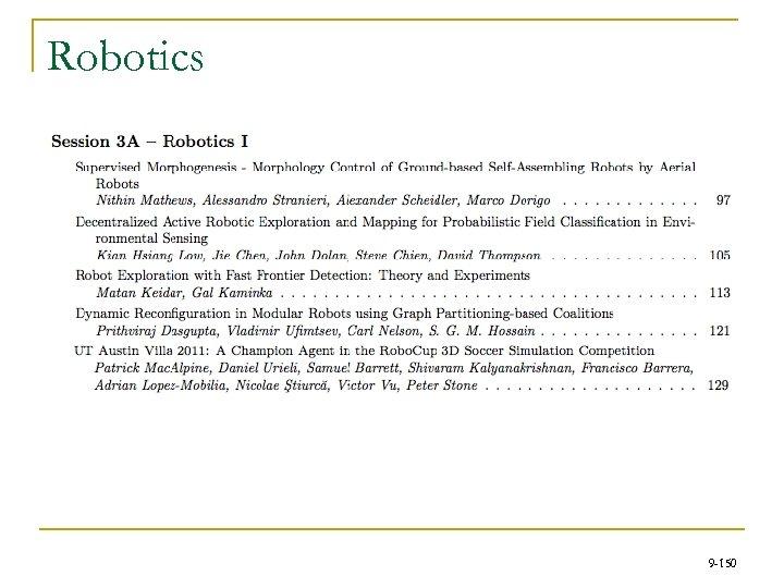 Robotics 9 -150