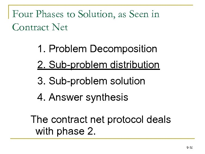 Four Phases to Solution, as Seen in Contract Net 1. Problem Decomposition 2. Sub-problem