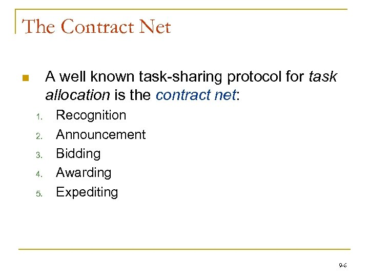 The Contract Net A well known task-sharing protocol for task allocation is the contract