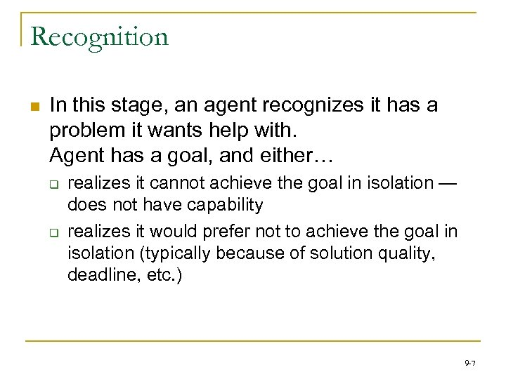 Recognition n In this stage, an agent recognizes it has a problem it wants