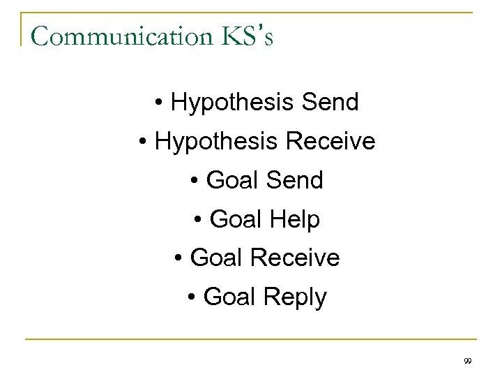 Communication KS's • Hypothesis Send • Hypothesis Receive • Goal Send • Goal Help