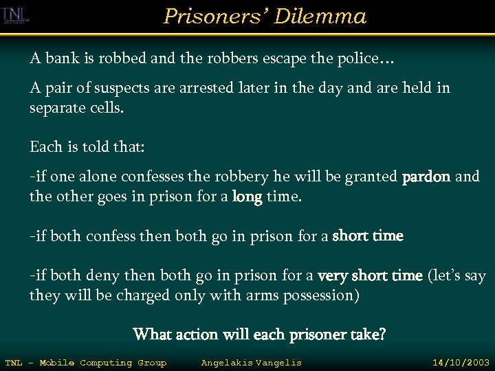 Prisoners' Dilemma A bank is robbed and the robbers escape the police… A pair