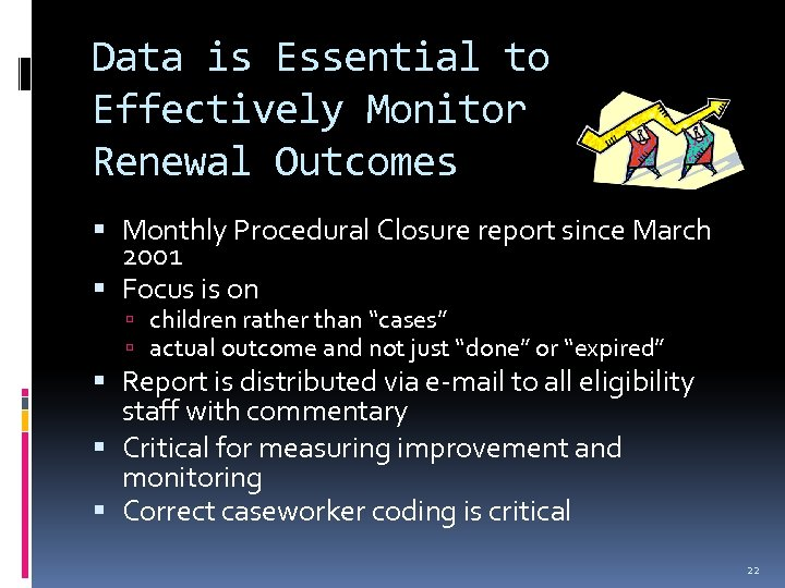Data is Essential to Effectively Monitor Renewal Outcomes Monthly Procedural Closure report since March