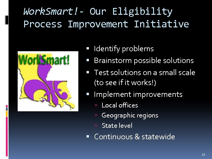 Work. Smart!- Our Eligibility Process Improvement Initiative Identify problems Brainstorm possible solutions Test solutions