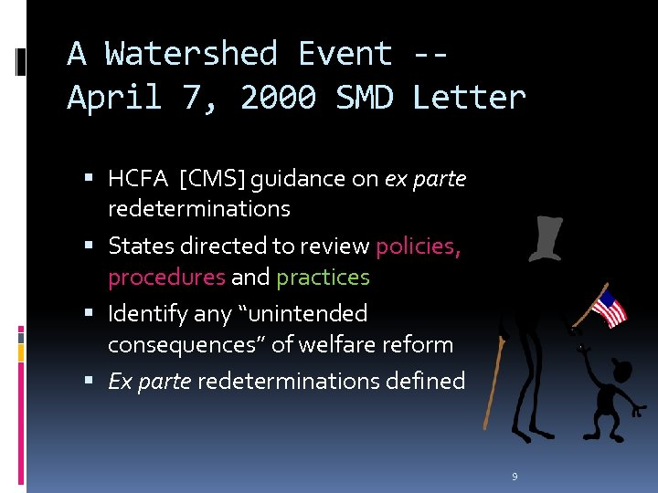 A Watershed Event -April 7, 2000 SMD Letter HCFA [CMS] guidance on ex parte
