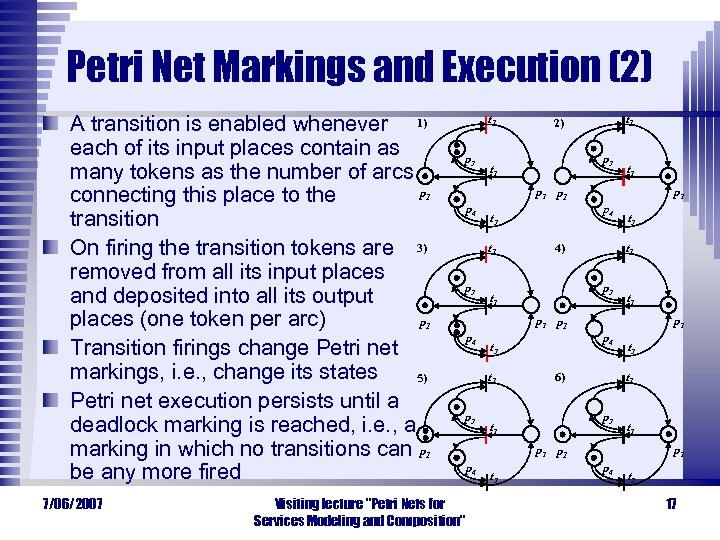 Petri Net Markings and Execution (2) A transition is enabled whenever 1) each of
