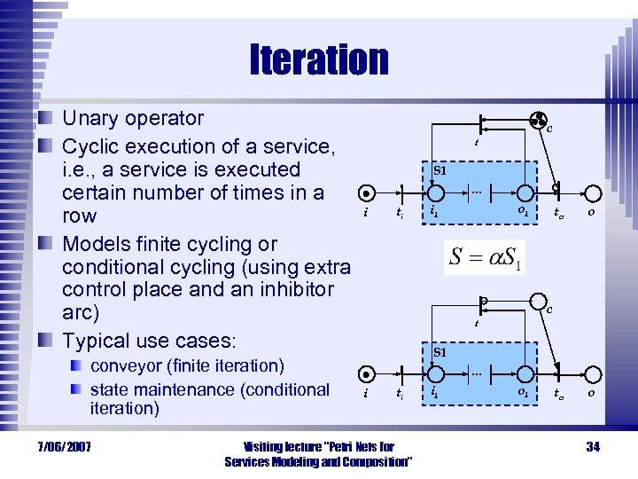 Iteration Unary operator Cyclic execution of a service, i. e. , a service is