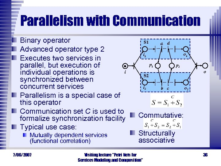 Parallelism with Communication Binary operator Advanced operator type 2 Executes two services in parallel,