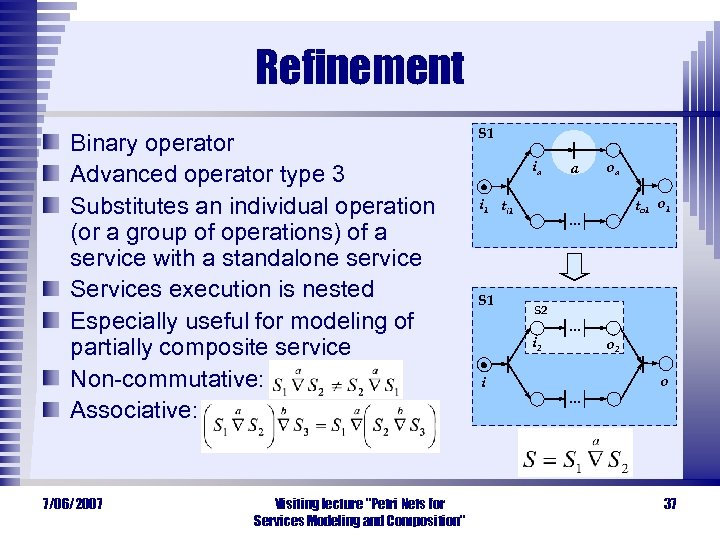 Refinement Binary operator Advanced operator type 3 Substitutes an individual operation (or a group