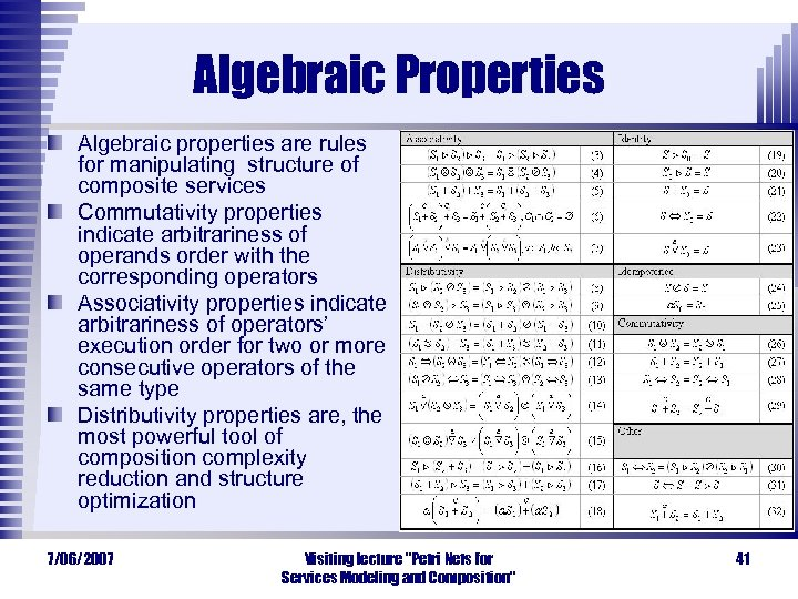 Algebraic Properties Algebraic properties are rules for manipulating structure of composite services Commutativity properties