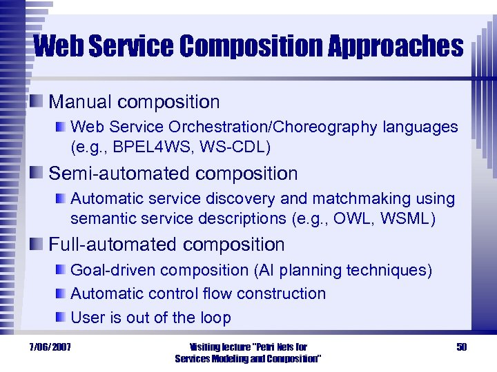 Web Service Composition Approaches Manual composition Web Service Orchestration/Choreography languages (e. g. , BPEL