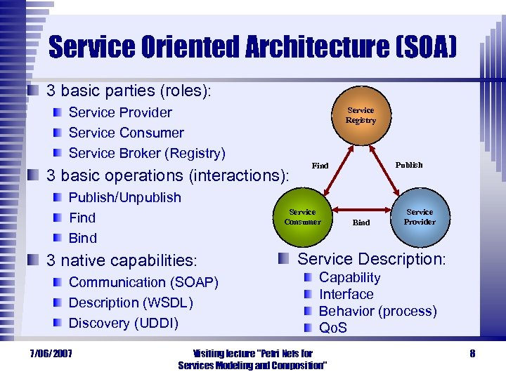 Service Oriented Architecture (SOA) 3 basic parties (roles): Service Provider Service Consumer Service Broker