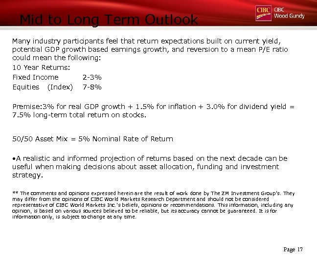 Mid to Long Term Outlook Many industry participants feel that return expectations built on