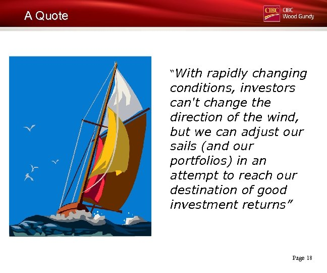 """A Quote """"With rapidly changing conditions, investors can't change the direction of the wind,"""