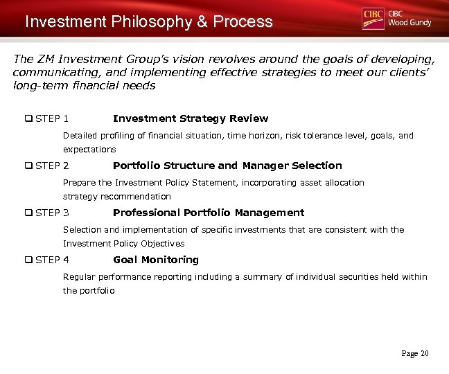 Investment Philosophy & Process The ZM Investment Group's vision revolves around the goals of