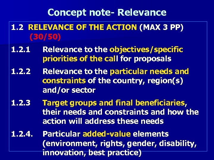 Concept note- Relevance 1. 2 RELEVANCE OF THE ACTION (MAX 3 PP) (30/50) 1.