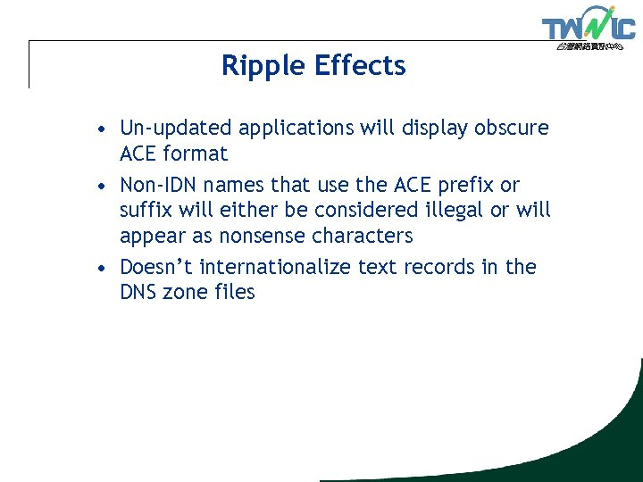 Ripple Effects • Un-updated applications will display obscure ACE format • Non-IDN names that