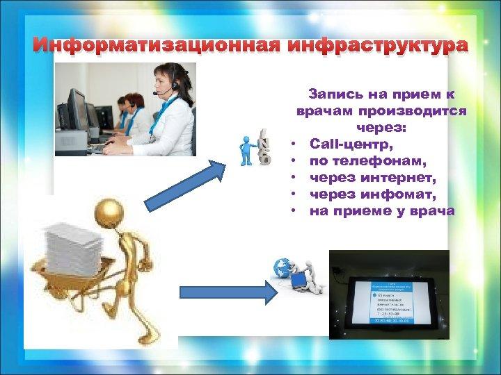 Информатизационная инфраструктура Запись на прием к врачам производится через: • Сall-центр, • по телефонам,