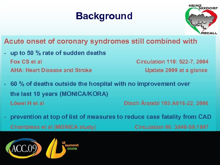 Background Acute onset of coronary syndromes still combined with - up to 50 %