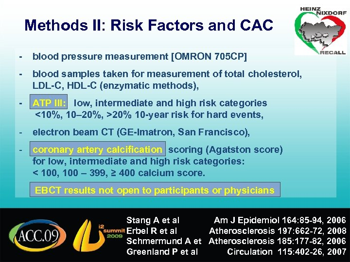 Methods II: Risk Factors and CAC - blood pressure measurement [OMRON 705 CP] -
