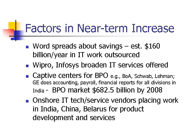 Factors in Near-term Increase n n n Word spreads about savings – est. $160