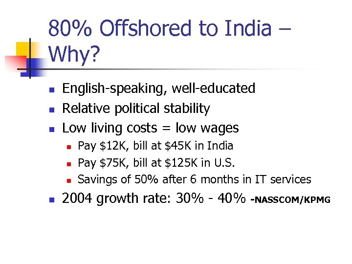 80% Offshored to India – Why? n n n English-speaking, well-educated Relative political stability