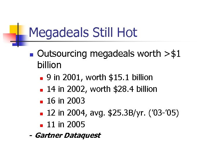 Megadeals Still Hot n Outsourcing megadeals worth >$1 billion n n 9 in 2001,