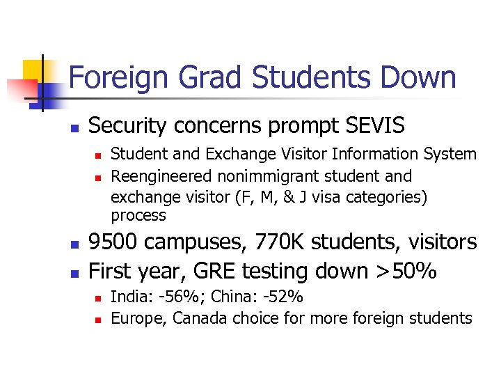 Foreign Grad Students Down n Security concerns prompt SEVIS n n Student and Exchange