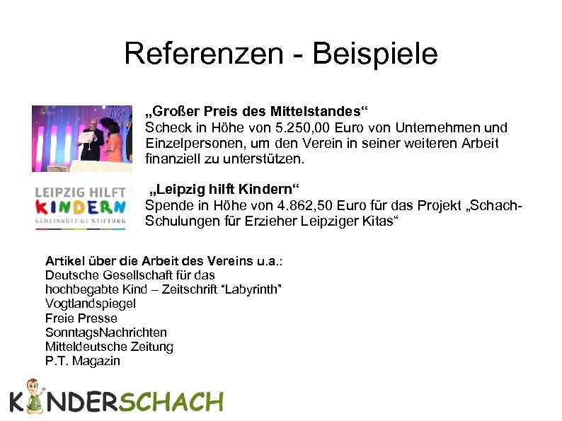 """Referenzen - Beispiele """"Großer Preis des Mittelstandes"""" Scheck in Höhe von 5. 250, 00"""