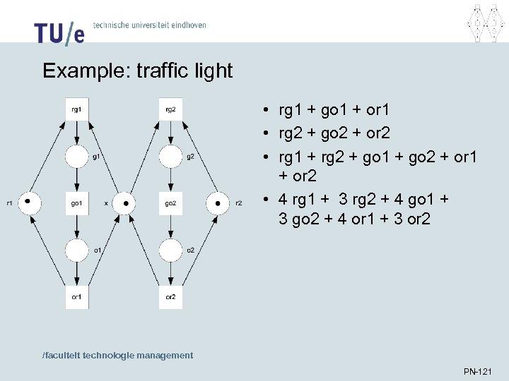 Example: traffic light • rg 1 + go 1 + or 1 • rg