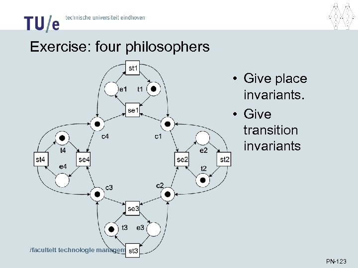 Exercise: four philosophers • Give place invariants. • Give transition invariants /faculteit technologie management