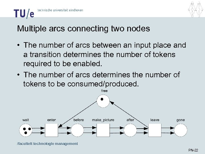 Multiple arcs connecting two nodes • The number of arcs between an input place