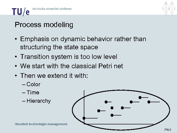 Process modeling • Emphasis on dynamic behavior rather than structuring the state space •
