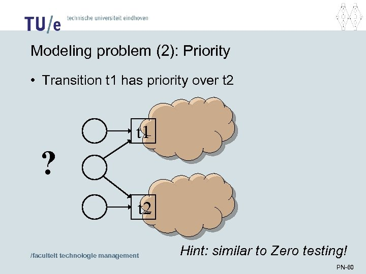 Modeling problem (2): Priority • Transition t 1 has priority over t 2 t