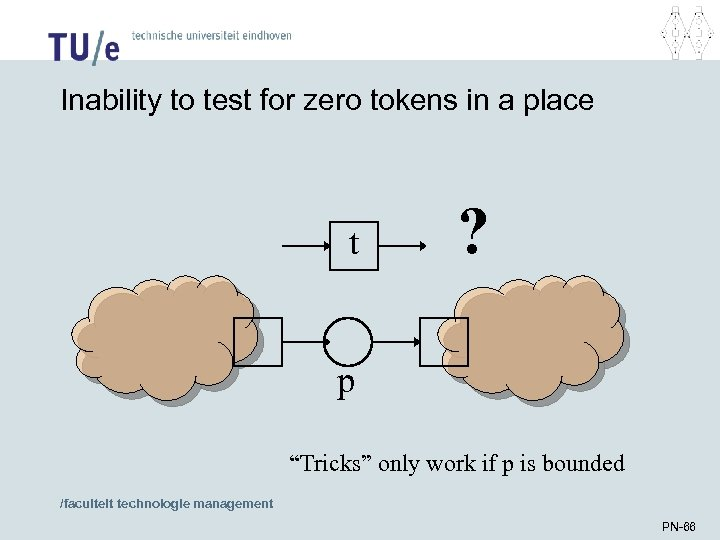 "Inability to test for zero tokens in a place t ? p ""Tricks"" only"