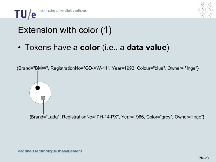 Extension with color (1) • Tokens have a color (i. e. , a data