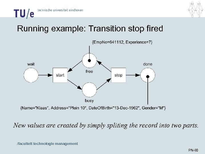 Running example: Transition stop fired New values are created by simply spliting the record