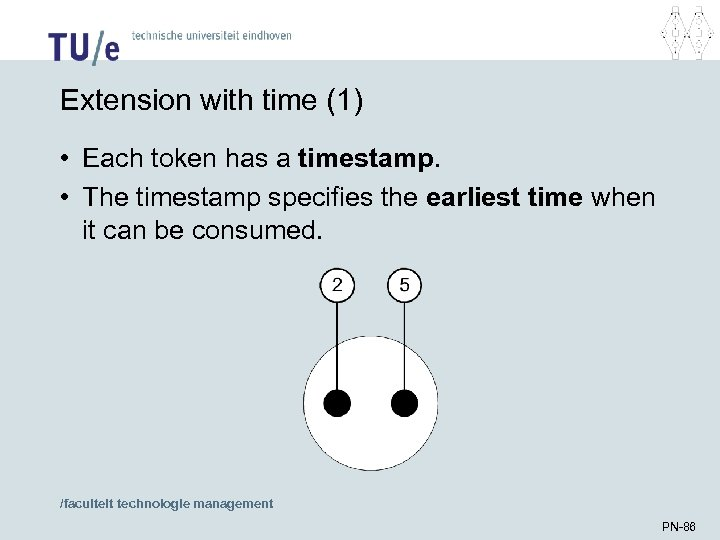 Extension with time (1) • Each token has a timestamp. • The timestamp specifies