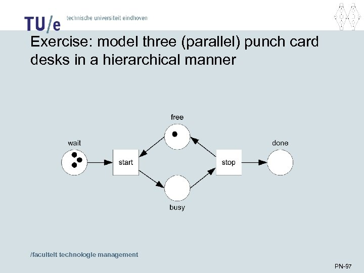 Exercise: model three (parallel) punch card desks in a hierarchical manner /faculteit technologie management