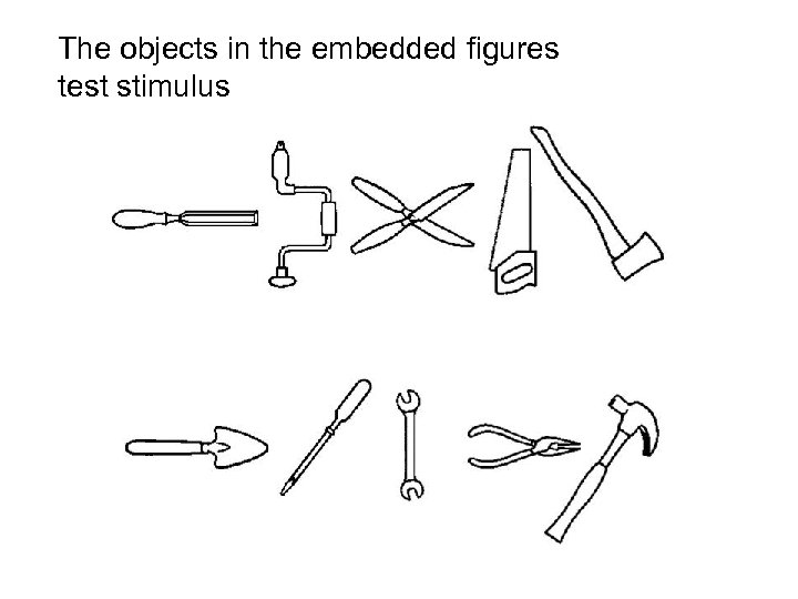 The objects in the embedded figures test stimulus