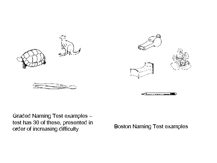 Graded Naming Test examples – test has 30 of these, presented in order of