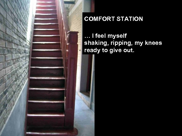 COMFORT STATION … I feel myself shaking, ripping, my knees ready to give out.