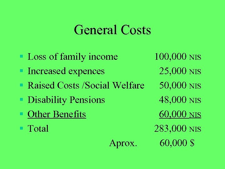 General Costs § § § Loss of family income 100, 000 NIS Increased expences