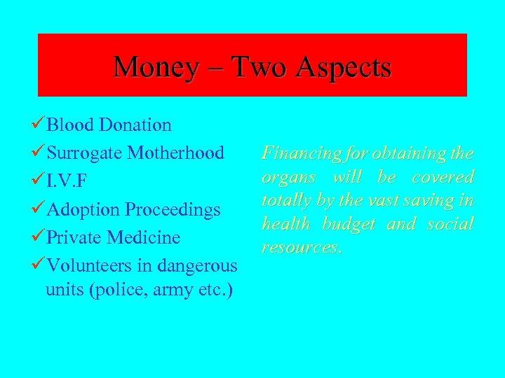 Money – Two Aspects üBlood Donation üSurrogate Motherhood üI. V. F üAdoption Proceedings üPrivate