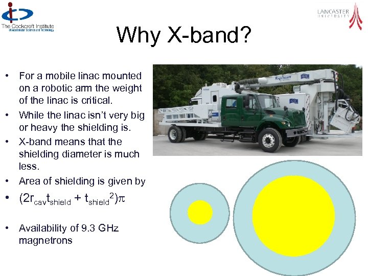 Why X-band? • For a mobile linac mounted on a robotic arm the weight