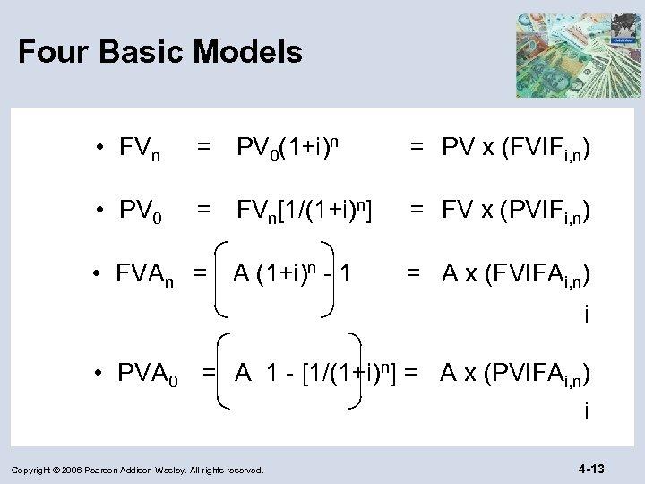 Four Basic Models • FVn = PV 0(1+i)n = PV x (FVIFi, n) •