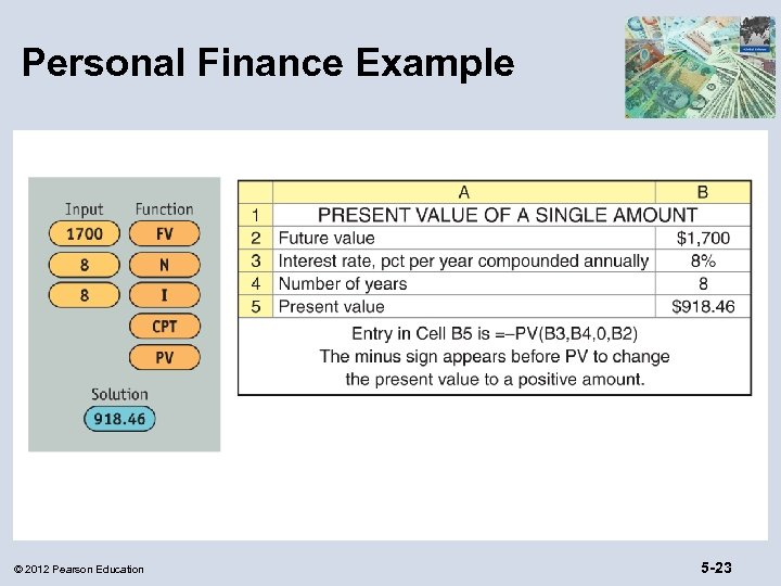 Personal Finance Example © 2012 Pearson Education 5 -23
