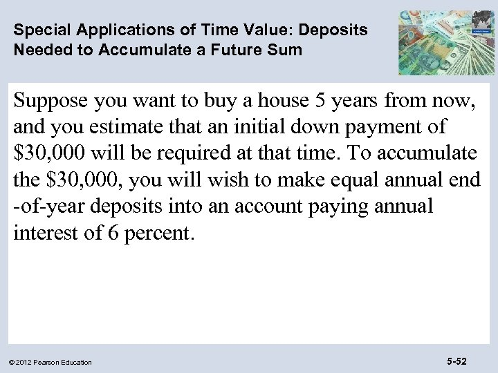 Special Applications of Time Value: Deposits Needed to Accumulate a Future Sum Suppose you