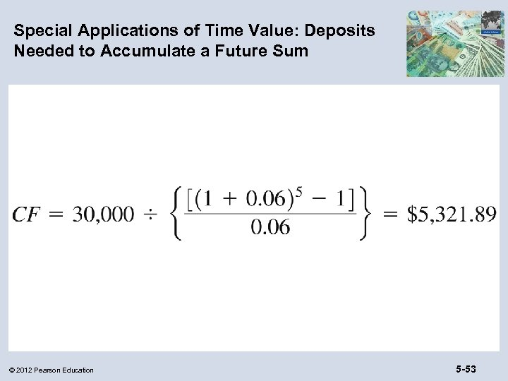 Special Applications of Time Value: Deposits Needed to Accumulate a Future Sum © 2012