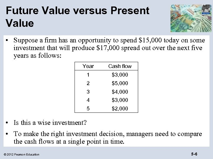 Future Value versus Present Value • Suppose a firm has an opportunity to spend
